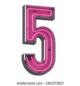 3d neon number 5 five