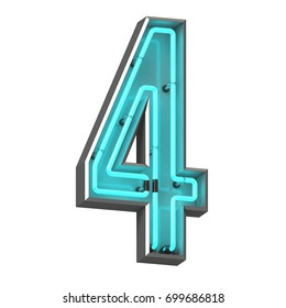 3D neon number four