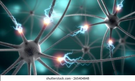 3D. Nerve Cell, Brain, Human Nervous System.