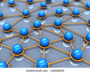 3d network concept, balls connection with each other
