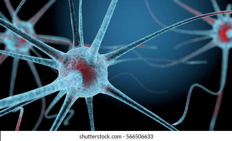 3D neuron cells network structure background. 3D rendering.