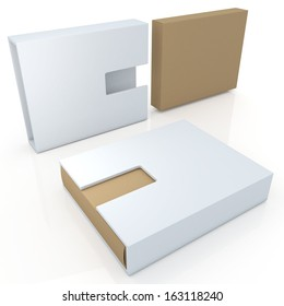 3d new modern design original brown &  clean white products container blank template and cut off design option for useful core slide in isolated background with work paths, clipping paths included