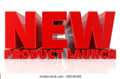 3D NEW PRODUCT LAUNCH word on white background 3d rendering