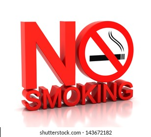 3d no smoking word on a white background