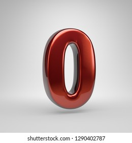 3D number 0. Red glossy metallic letter isolated on white background
