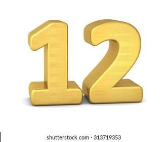 3d number 12 gold