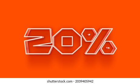 3d number 20 percent off isolated on background coupon 20% discount 3d rendering discount collection for your unique selling poster, banner ads, Christmas, Xmas sale and more