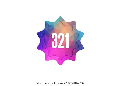 3D Number 321 with modern pattern isolated on white color background, 3d illustration.