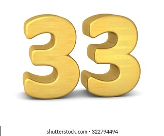 3d number 33 gold