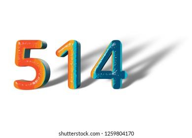 3D Number 514 five hundred fourteen lively colours