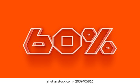 3d number 60 percent off isolated on background coupon 60% discount 3d rendering discount collection for your unique selling poster, banner ads, Christmas, Xmas sale and more