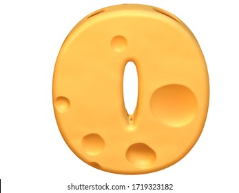 "3D Number/ Digit ""0"" made from a yellow cheese on white background. 3D illustration. 3D rendering."