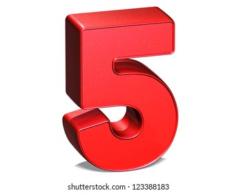 3D Number Five on white background