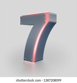 3D Number, Letter 7 , Iron texture, Red Neon Light. 3D Rendering