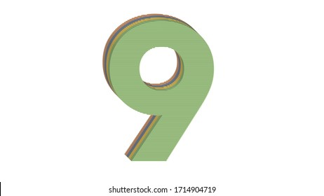 3D NUMBER MADE OF 4 COLORED FLAT BLOCK WITH WHITE BACKGROUND : 9 NINE