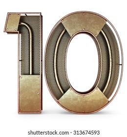 3d number ten 10 symbol with rustic gold metal, mesh, tubes with copper and brass accents.Isolated on a white background.