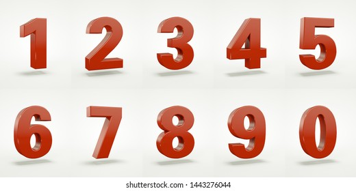 3D number with white background