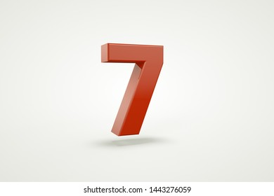 3D number with white background,number 7