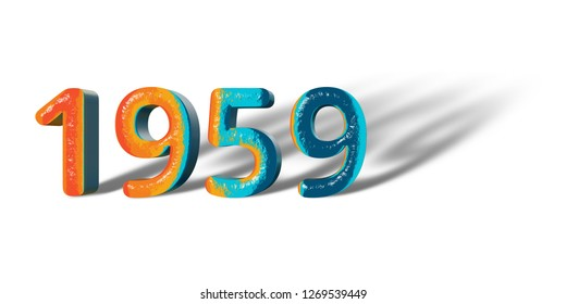3D Number Year 1959 joyful hopeful colors and white background