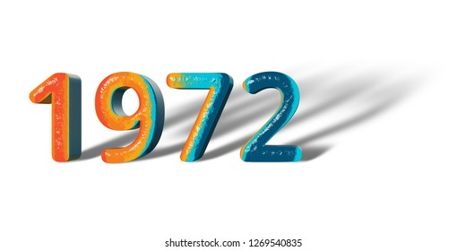 3D Number Year 1972 joyful hopeful colors and white background