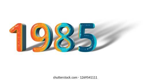 3D Number Year 1985 joyful hopeful colors and white background