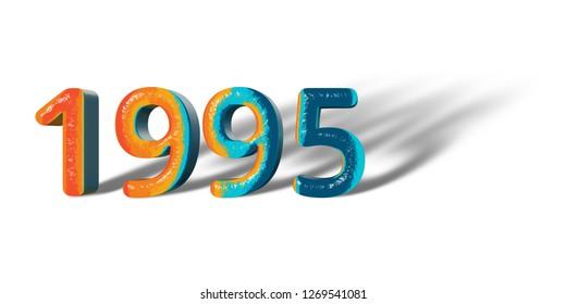 3D Number Year 1995 joyful hopeful colors and white background
