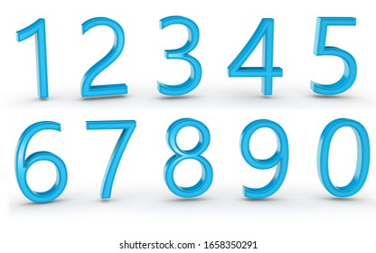 3D numbers 1234567890 on white background