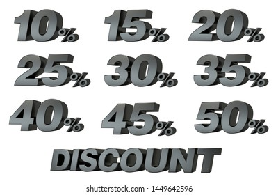 3D numbers discount black with white background. 10%, 15%, 20%, 25%, 30%, 35%, 40%, 45%, 50%. 3D Illustration.