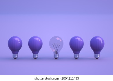 3D objects of light bulbs stand on a blue isolated background. Dark unlit light bulbs stand in a row. Different light bulbs, dim and transparent. Close-up.