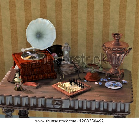 3 D Objects Rendering Samovar On Table Stock Illustration - Royalty