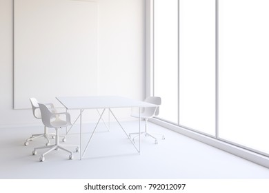 3d office interior with big windows and view