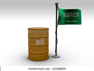 3d Oil barrel with Saudi Arabia flag on white background