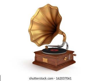 3d old vintage gramophone isolated on white background. Retro music concept