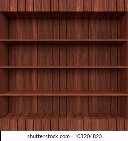 3d Old Wooden book Shelf