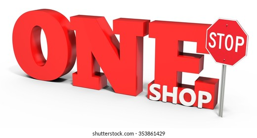 3d one stop shop sign on white background