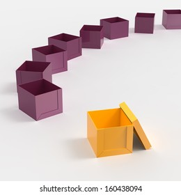 3d open blank box as thinking outside the box concept