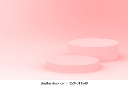 3d orange cylinder podium minimal studio background. Abstract 3d geometric shape object illustration render. Display for cosmetic perfume fashion product. Color of the year 2019 Living Coral.