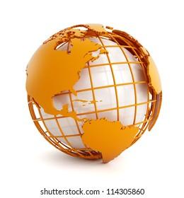 3d orange globe isolated on white background