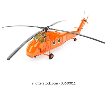 3d orange helicopter isolated on the white background