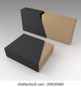 3D original brown blank box and blank matte black slide trapezoid cover in isolated background with work paths, clipping paths included