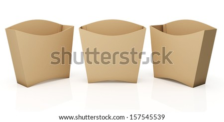 3 d original brown container french fries stock illustration