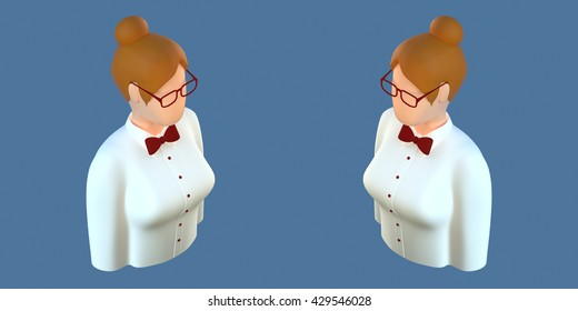 3d orthogonal front side three-quarter Avatar office manager programmer employee with glasses woman icon for profile successful adult business casino croupier waiter different views set isometric