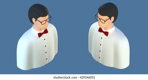 3d orthogonal front side three-quarter Avatar office manager programmer employee with glasses man icon for profile successful adult business man casino croupier waiter different views set isometric