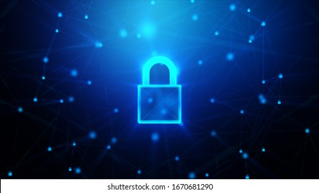 3D Padlock with connection line, with lighting shallow depth of field and glitter effect, against 0 1 binary digital number abstract background