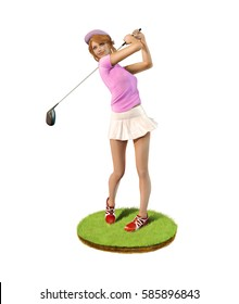 3D painting of a beautiful girl golf player teeing-off standing on a patch of grass, front view.
