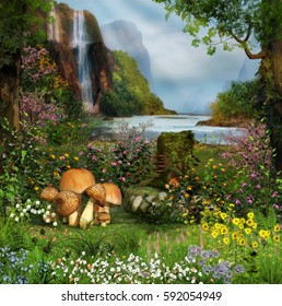 3D painting of a beautiful scenic view from an enchanted garden by a waterfall and river.