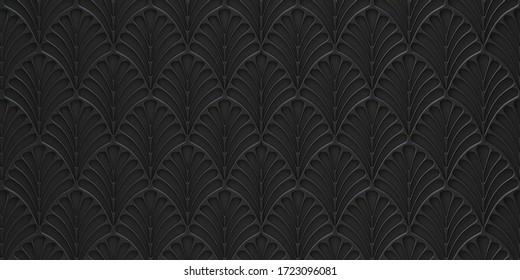 3d panel. Abstract background Black geometric ornament on a black embossed background. Volumetric texture. Decorative panel with floral ornaments. 3D panel. Futuristic background render