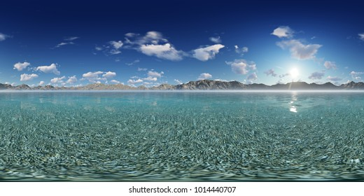 3d panorama illustration of a beautiful sky in the ocean with mountains skyline