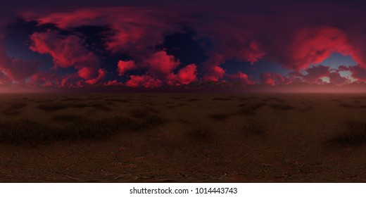 3d panorama rendering of a beautiful sunset over the desert