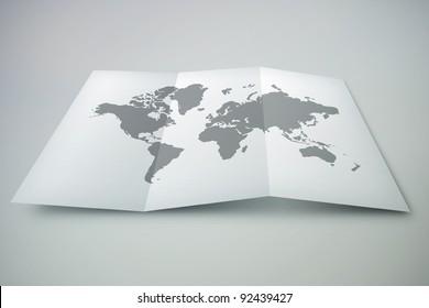 3D paper world map